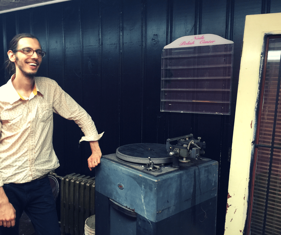 Aaron's vintage vinyl mastering press. And, to be located only blocks from Edison's pioneer electric plant!