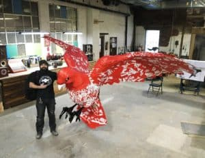 Scenic designers at Murmuration, Inc., created this Nike commissioned bird
