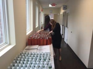 Orange County Accelerator expands. Goody bags of Accelerator entrepreneur's readied for ribbon cutting guests