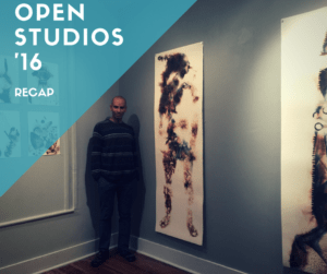 Gerardo Castro stands before a work in the Indigo Series featured in Newburgh's Open Studios 2016 Recap of the Studio Tours