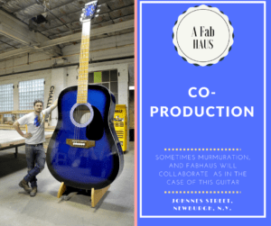 Oversized guitar make by Mumuration with fabrication by Fabhaus and Ricardo Fuentes