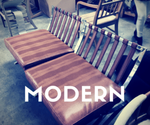 A finished modern piece at Ramos Upholstery