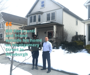 Bill Fioravanti poses outside his home in Newburgh, N.Y. with a friend