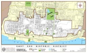 A map outlining the East End District of Newburgh NY